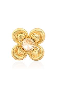 Gold Finish Pink Semi Precious Stones Flower Middie Ring by Valliyan by Nitya Arora
