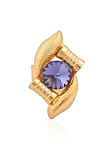 Gold Finish Purple Semi Precious Stones Flower Middie Ring by Valliyan by Nitya Arora