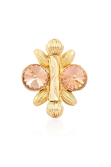 Gold Finish Double Pink Semi Precious Stones Adjustable Middie Ring by Valliyan by Nitya Arora