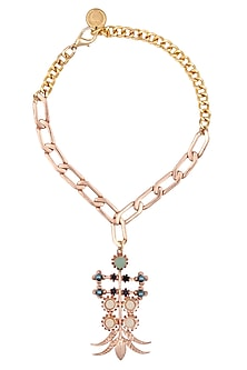Rose Gold Ethnic Begum Copper Necklace by Valliyan by Nitya Arora