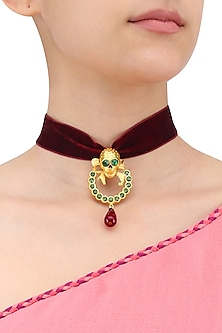 Gold Plated Amy Velvet Choker by Valliyan by Nitya Arora