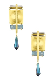 Gold Plated Blue Stone Drop Earrings by Valliyan by Nitya Arora