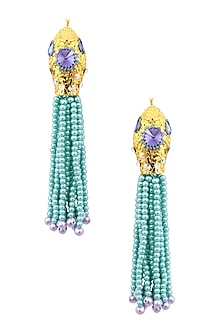 Gold Plated Ethnic Blue Bead Tassel Earrings by Valliyan by Nitya Arora