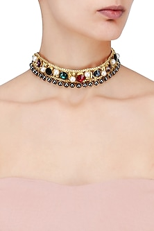 Gold Plated Multicolor Stone Choker by Valliyan by Nitya Arora