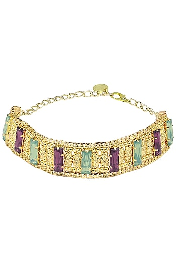 Gold Plated Green and Pink Semi Precious Stone Choker by Valliyan by Nitya Arora