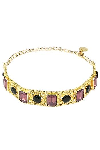 Gold Plated Pink Glass Stone Choker by Valliyan by Nitya Arora