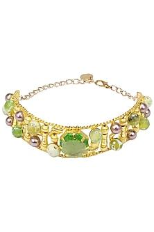 Gold Plated Green Glass Stone Choker by Valliyan by Nitya Arora
