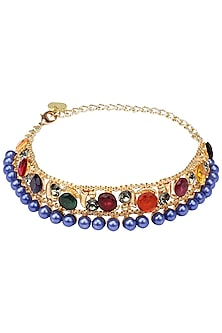 Gold Plated Multicolor Semi Precious Stone and Blue Pearls Choker by Valliyan by Nitya Arora