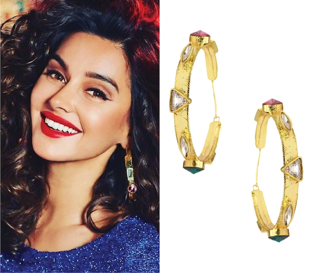 Gold Plated Multicolor Semi Precious Stone Hoop Earrings by Valliyan by Nitya Arora