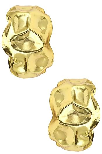 Gold Plated Beaten Hoop Earrings by Valliyan by Nitya Arora