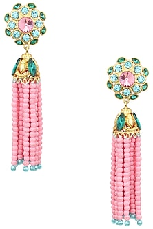 Gold Plated Baruka Pink Bead Tassel Earrings by Valliyan by Nitya Arora