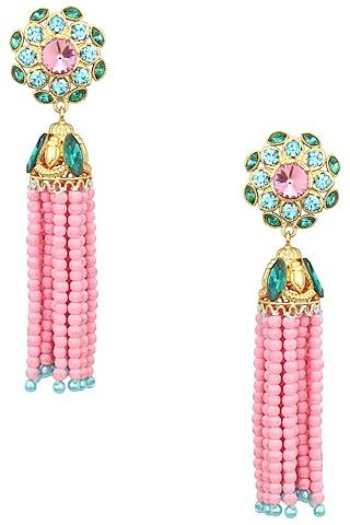 Gold Plated Baruka Pink Bead Tassel Earrings by Valliyan by Nitya Arora