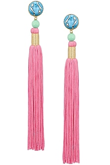 Gold Plated Green Stone and Pink Tasseled Earrings by Valliyan by Nitya Arora