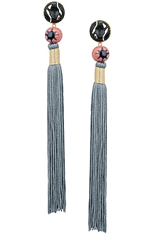 Gold Plated Pink Natural Stone and Grey Tasseled Earrings by Valliyan by Nitya Arora