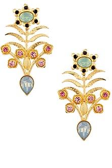 Gold Finish Semi Precious Stone Flower Earrings by Valliyan by Nitya Arora