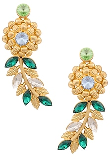 Gold Finish Semi Precious Stone Flower and Leaf Shape Earrings by Valliyan by Nitya Arora