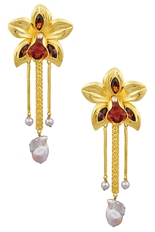 Gold Finish Pearl and Semi Precious Stone Flower Earrings by Valliyan by Nitya Arora