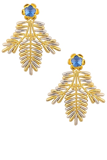 Rhodium and Gold Finish Leaf Shape Earrings by Valliyan by Nitya Arora