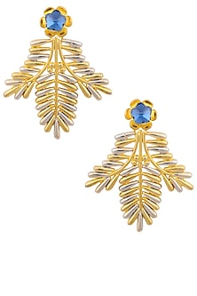 Rhodium and Gold Finish Leaf Shape Earrings by Valliyan by Nitya Arora