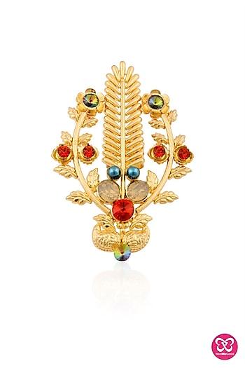 Gold finish multicolor semi precious stone ring by Valliyan by Nitya Arora