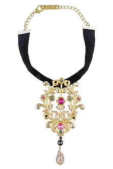 Gold Finish Floral Shape Pendant Black Velvet Band Choker Necklace by Valliyan by Nitya Arora