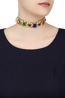 Gold Plated Candy Choker by Valliyan by Nitya Arora