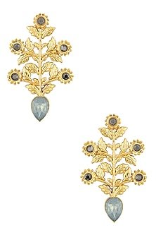 Gold Plated Teal Earrings by Valliyan by Nitya Arora