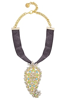 Gold Plated Paisley Pendant Grey Velvet Choker by Valliyan by Nitya Arora