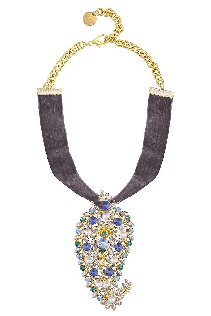Gold Plated Paisley Peacock Grey Velvet Choker by Valliyan by Nitya Arora