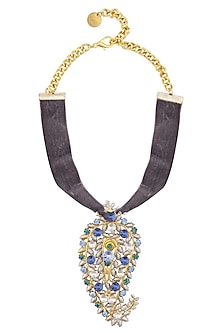 Gold Plated Paisley Peacock Grey Velvet Choker by Valliyan by Nitya Arora
