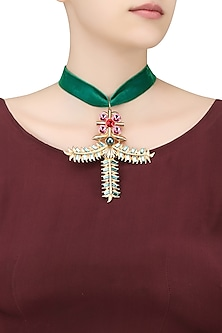 Gold Plated Angel Pendant Green Velvet Choker by Valliyan by Nitya Arora