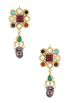 Gold Plated Diana Earrings by Valliyan by Nitya Arora