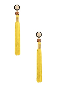 Yellow Silk Tassel Earrings by Valliyan by Nitya Arora