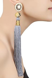 Steel Grey Silk Tassel Earrings by Valliyan by Nitya Arora