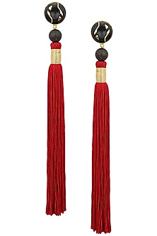 Gold Plated Black Stone and Red Silk Tassel Earrings by Valliyan by Nitya Arora