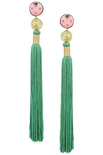 Gold Plated Pink Acrylic Top Ang Green Silk Tassel Earrings by Valliyan by Nitya Arora