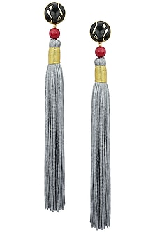 Gold Plated Red Stone and Grey Silk Tassel Earrings by Valliyan by Nitya Arora