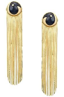 Gold Plated Black Acrylic Top and Metal Tassel Earrings by Valliyan by Nitya Arora