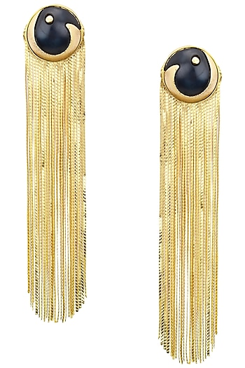 Gold Plated Black Acrylic Top and Metal Tassel Earrings by Valliyan by Nitya Arora
