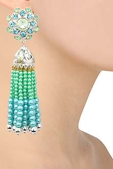 Gold Plated Blue and Green Pearl Tassel Earrings by Valliyan by Nitya Arora