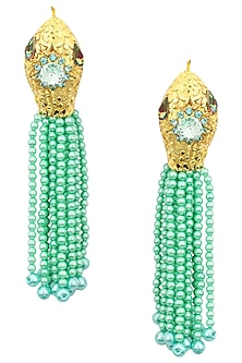 Gold Plated Textured Green Pearl Tassel Earrings by Valliyan by Nitya Arora