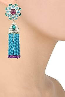 Rhodium Finish Purple Stone and Blue Beads Tassel Earrings by Valliyan by Nitya Arora