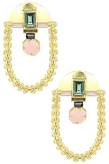 Gold Plated Green Swarovski Chain Hanging Earrings by Valliyan by Nitya Arora