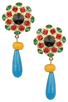 Gold Plated Red and Green Stone Earrings by Valliyan by Nitya Arora
