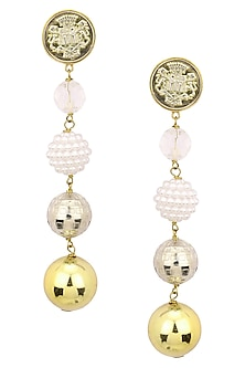Gold Plated Pears and Gold Beads Textured Earrings by Valliyan by Nitya Arora