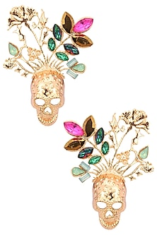 Gold Plated Multicolor Stone Skull Earrings by Valliyan by Nitya Arora