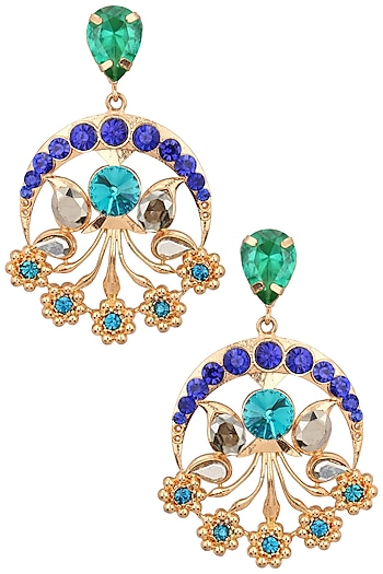 Gold Plated Green and Blue Flower Design Earrings by Valliyan by Nitya Arora