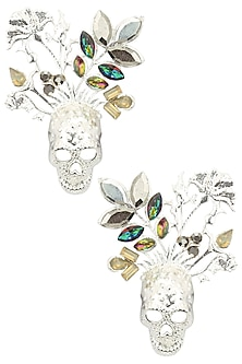Rhodium Finish Multicolor Stone Skull Earrings by Valliyan by Nitya Arora