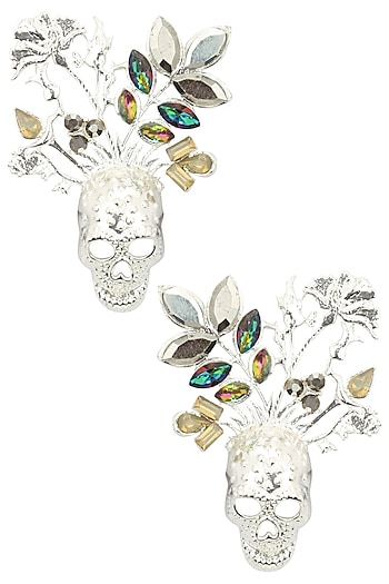 Rhodium Finish Multicolor Stone Skull Earrings by Valliyan by Nitya Arora