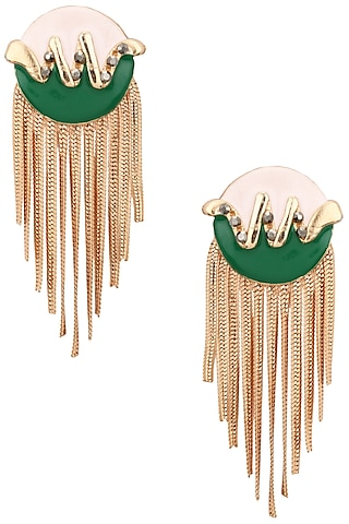 Rose Gold Finish Blue and Green Top Metal Tassel Earrings by Valliyan by Nitya Arora